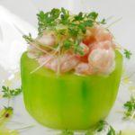 grüne Gurken mit Garnelen-Ingwer-Majo