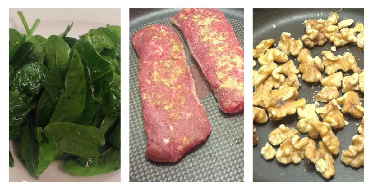 Zutaten für Lammlachse mit Pesto auf Salat vom Babyspinat