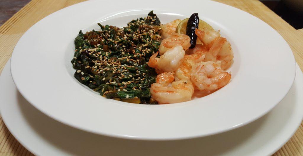 Rezept für Garnelen mit Sesam-Spinat