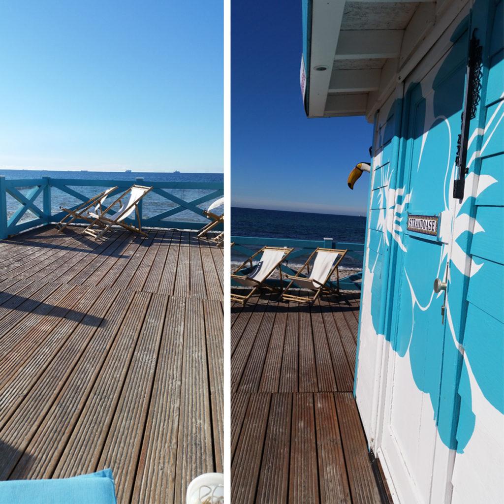 Gemütliche Liegestühle mit Ostseeblick an der Strandoase Markgrafenheide