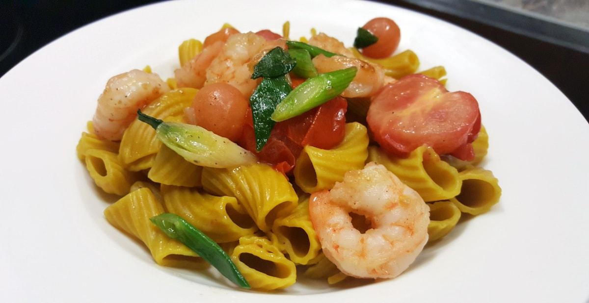 Rezept für Fenchel Pasta mit Garnelen und Papaya