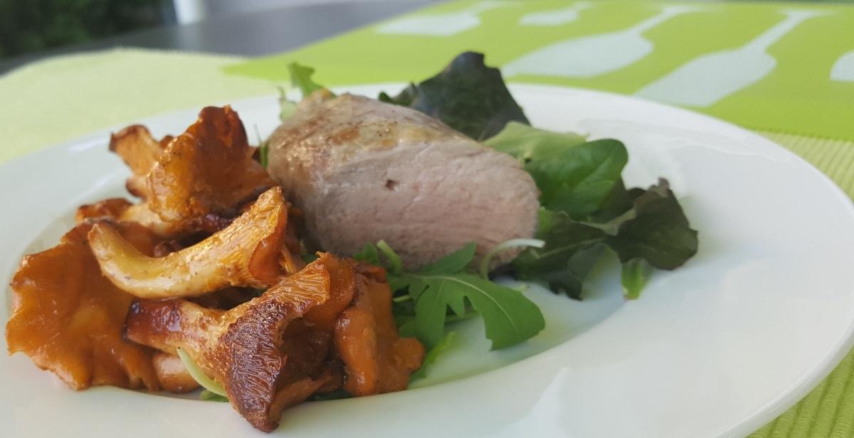 Rezept für Filet vom Iberico Schwein mit frischen Pfifferlingen