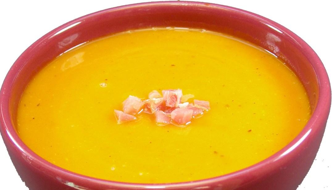 Kürbissuppe mit Schinken