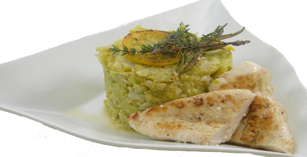 Rosenkohlpüree mit Zitronen-Kräuter-Hühnchen