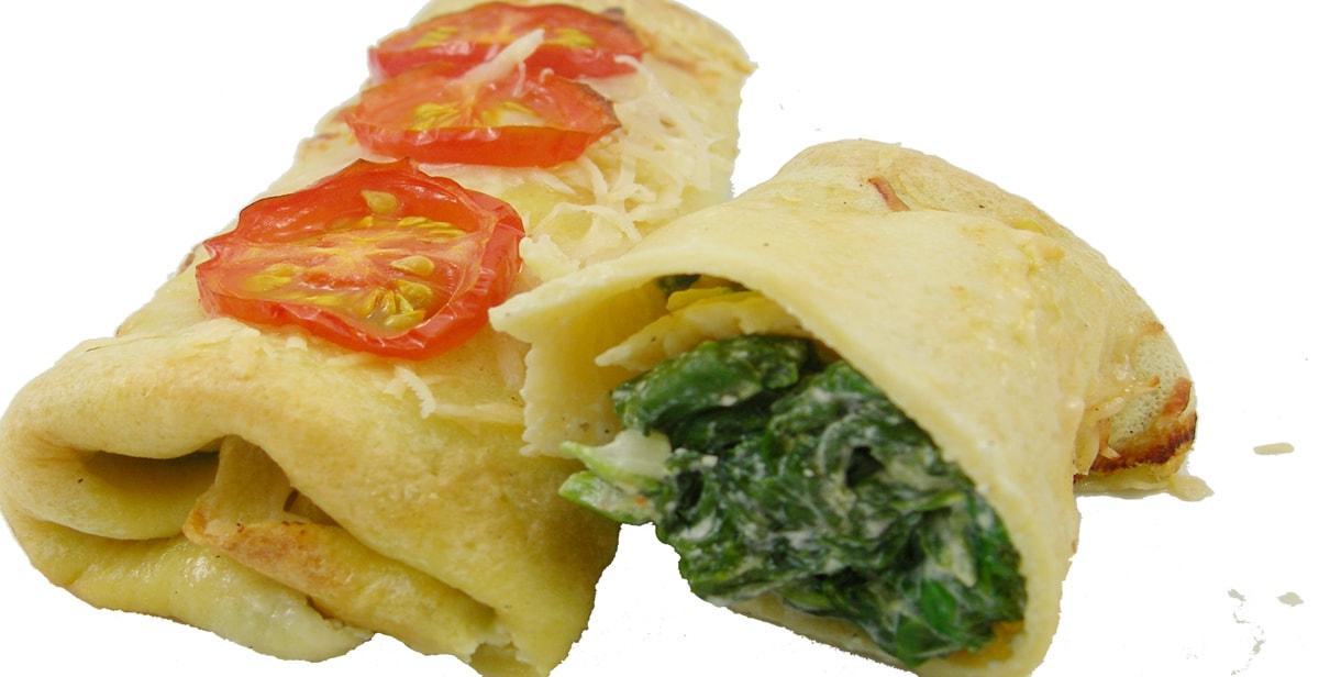 Crepes: herzhaft gefüllt mit Spinat und Parmesan