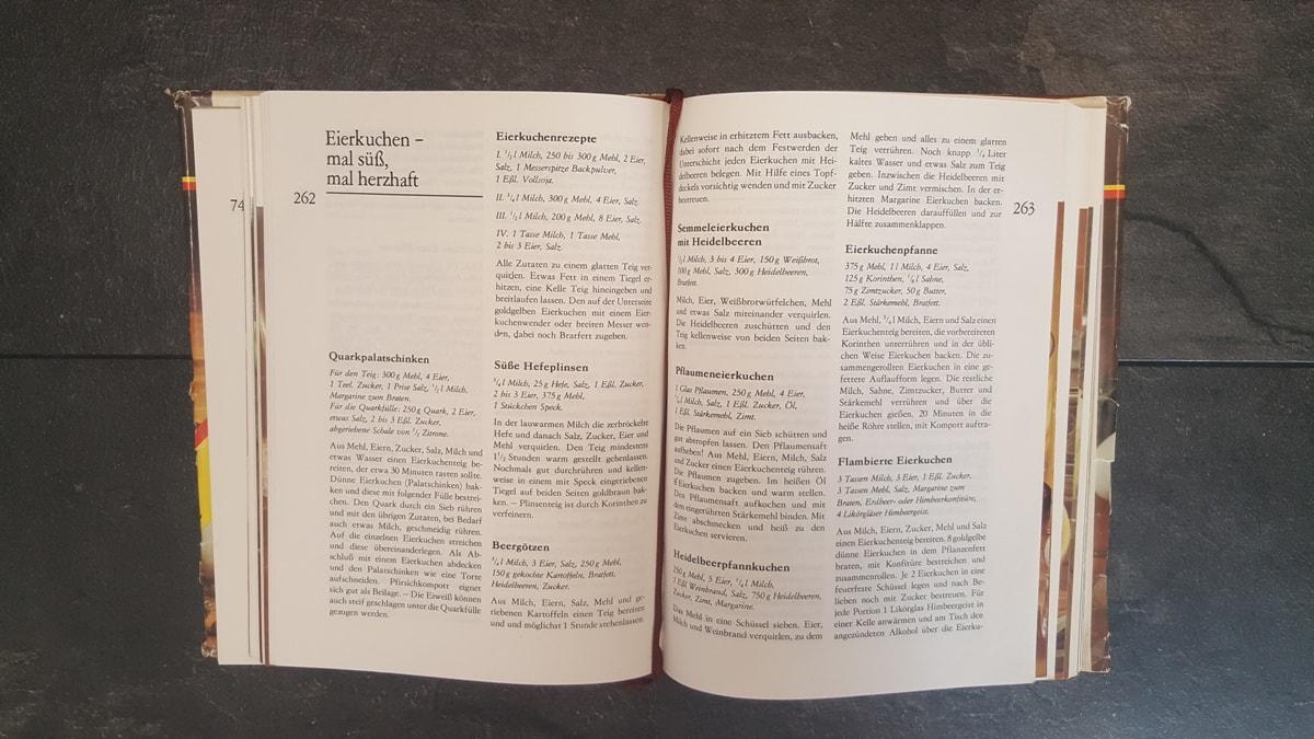 einfaches Rezept für selbstgemachte Eierkuchen aus meinem Kochbuch