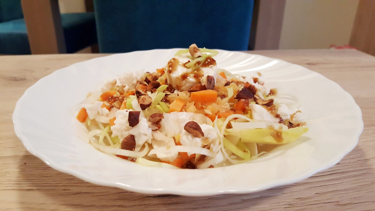lauwarmer Linsensalat mit Chocoree und Ziegenkäse