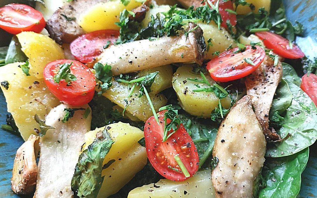 Rezept für eine schnelle Kartoffel-Pilzpfanne aus dem Backofen