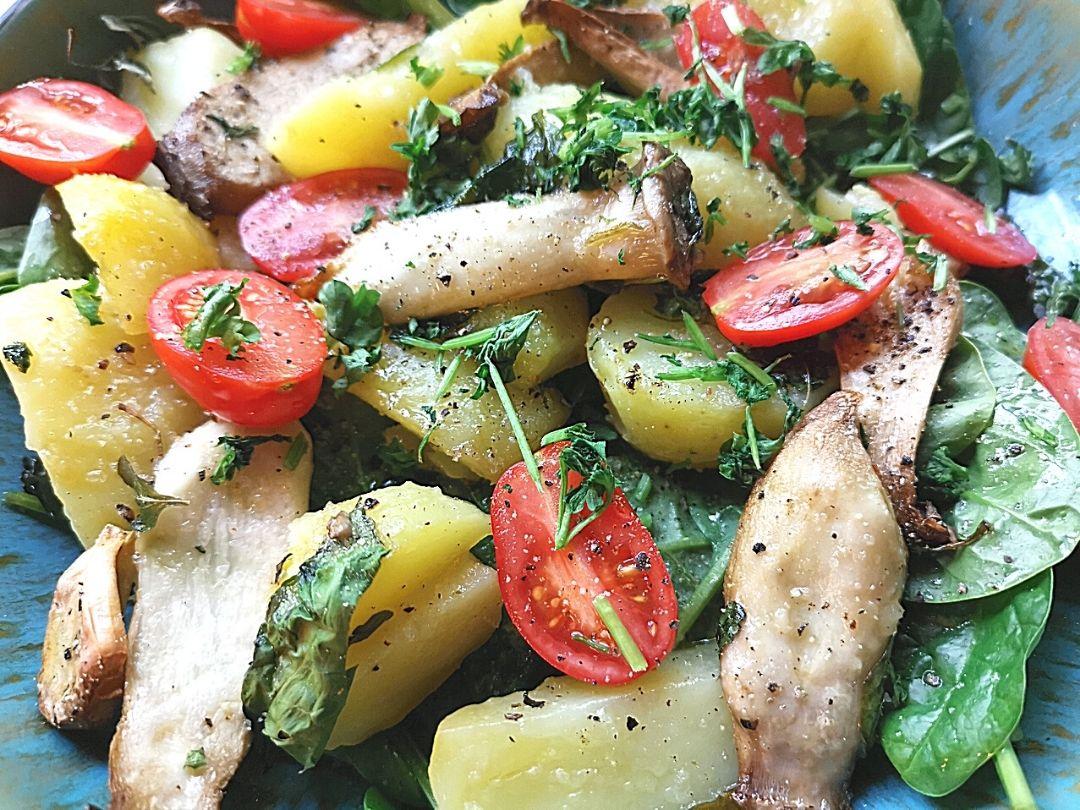 schnelles Rezept mit Pellkartoffeln und Pilzen - Resteverwertung