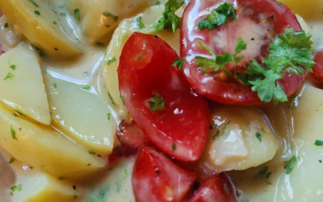 Schneller Kartoffelsalat mit einem Apfelessig Dressing