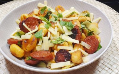 Süßkartoffel Gnocchi mit pikanter Chorizo