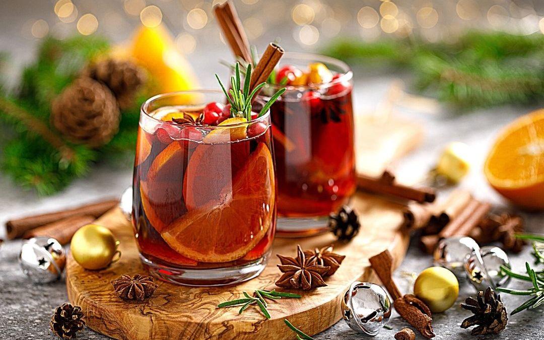 alkoholfreier Winterpunsch mit frischen Cranberries