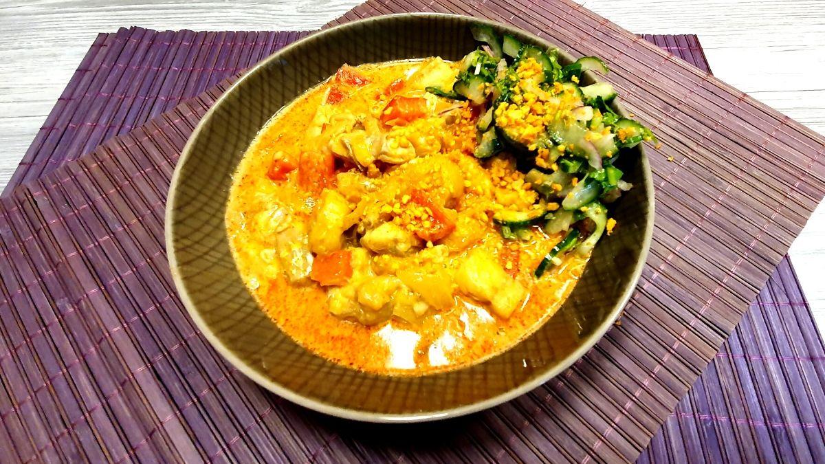 Rezept fürr rotes Bananencurry mit Fisch